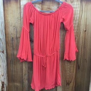 Elan Coral Bell Sleeve Mini Dress/Swim Cover Up
